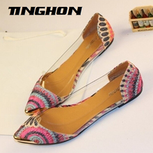 NEW Fashion Brand Women's Casual Floral Peacock Print Metal Decorative Pointed Toe Flats Shoes 9 color US4-10 Free Shipping