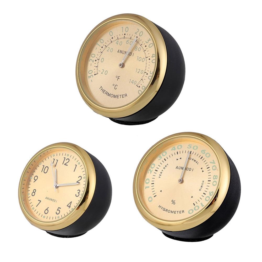 1pcs Auto Car Luminous Quartz Clock Thermometer Hygrometer Automobiles Decoration Accessories Auto Interior Ornament