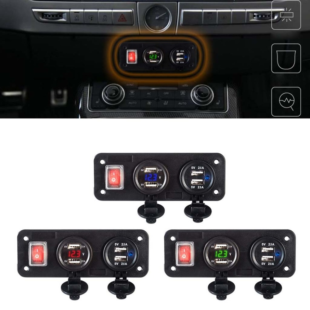 12V 24V 4 USB Charger Adapter LED Voltmeter Waterproof With Switch Panel for Car Boat Truck Travel Outdoor Use For iPhone