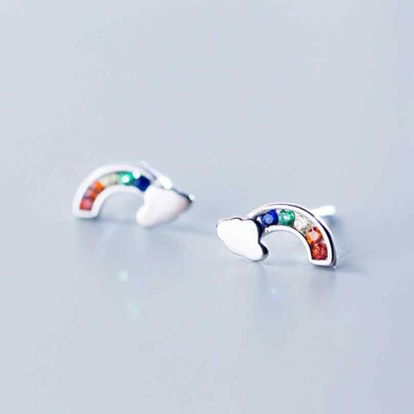 New Cute Rainbow Clouds Stud Earrings For Women 925 Sterling Silver Pendientes Jewelry Simple Personality Girl's Brincos SAE32
