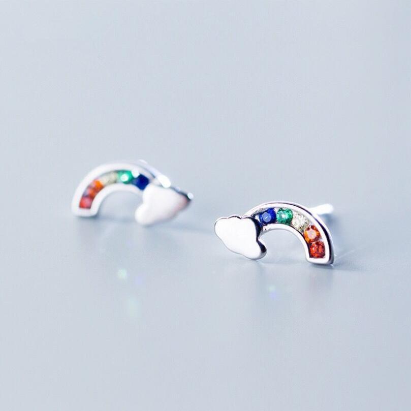 Sterling Silver Rainbow with Glitter Cloud Enamel Stud Earrings