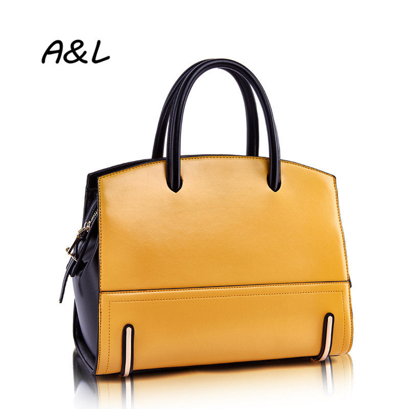 2016 Women Bag New Fashion Hit Color Handbag Lady Luxury Brand Genuine Leather Shoulder Messenger Bag Business Casual Tote A0050