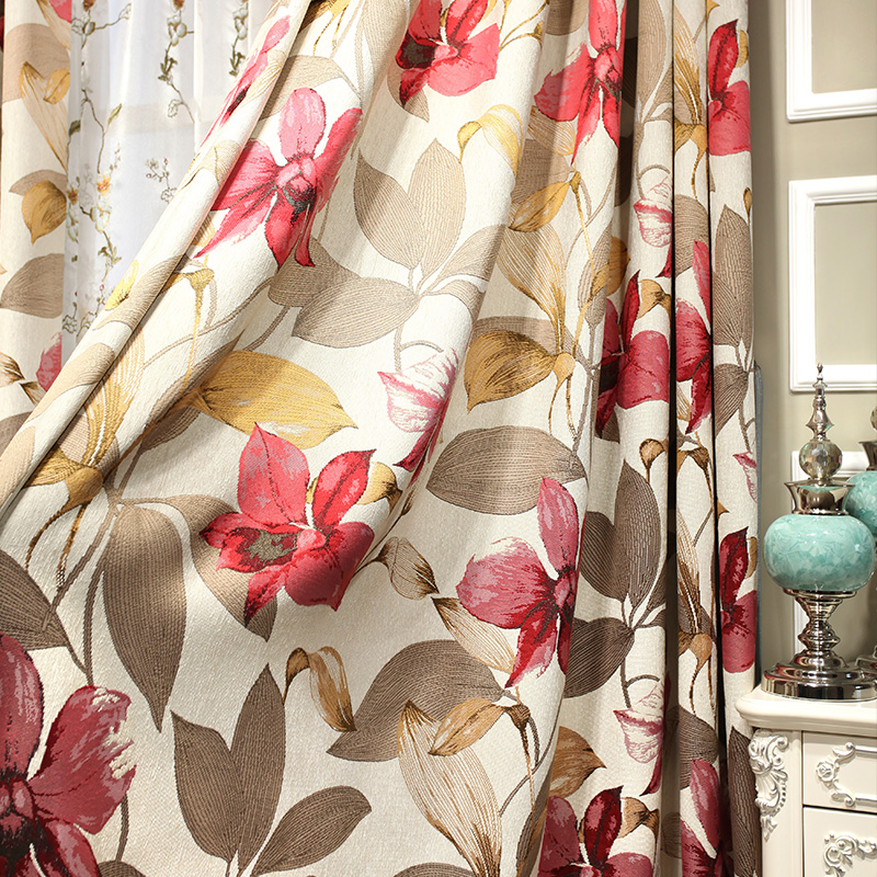 Curtains Chenille Jacquard Leaves Red Top Luxury Kitchen Bed Living Room Papelaria Half Blackout Cortinas