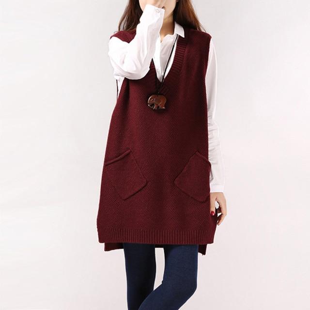 3e9eaf6ceab Woman spring Solid V-neck pocket knit outerwear female autumn hedging loose  Split sleeveless long