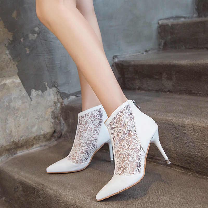 KarinLuna ผู้หญิง Plus ขนาด 32-47 เซ็กซี่ลูกไม้ตาข่ายบางรองเท้าส้นสูงรองเท้าผู้หญิง Elegant Mature ปาร์ตี้รองเท้าฤดูร้อนรองเท้า