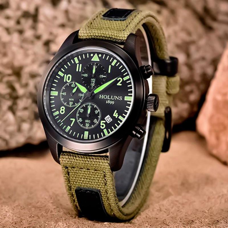 HOLUNS TOP Brand Luxury Watch Men Military Canvas Band Sport Watches Auto Date Luminous Quartz 2017 New Arrival Analog Clock цена и фото