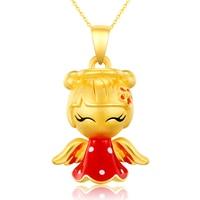 Pure 24K Yellow Gold Pendant Women 999 Gold 3D Cute Angel Girl Pendant 2.08g