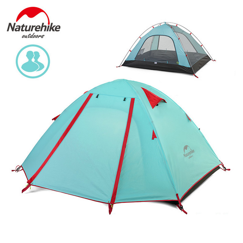 NatureHike 2-3-4 Person Tent Double Layer Outdoor Camping Hiking Hike Travel Play Tent Aluminum Pole Wind rope pegs naturehike hiking travel tent 1 3 person camping tents waterproof double layer tent outdoor camping family tent aluminum pole