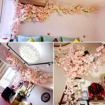 10pcs 180cm Artificial Cherry Blossoms Flower Wedding Decoration DIY Rattan Garland Simulation flowers vine Party Home decor - DISCOUNT ITEM  38% OFF All Category