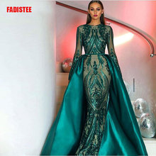 Hot sale Elegant Muslim Green Long Sleeves Evening Dresses With Detachable Train Sequin Bling Moroccan Kaftan Formal Party Gown