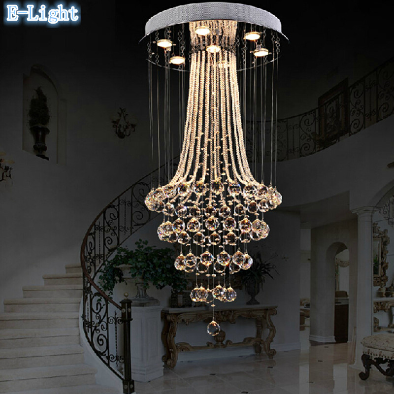 ラウンドledクリスタルランプ天井照明50*80センチ7ピース電球クリスタルシーリングライト