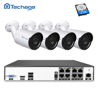 Techage H 265 8CH 4MP POE NVR Kit Security Camera CCTV System 4PCS 4 0MP Metal