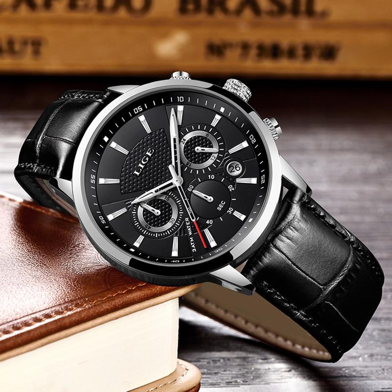 2019 New Mens Watches LIGE Top Brand Luxury Leather Casual Quartz Watch Men Sport Waterproof Clock Black Watch Relogio Masculino