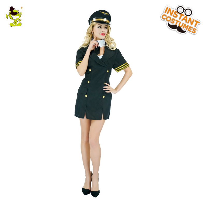 Adult Stewardess Costume Carnival Role Play Sexy Air Hostess Outfits for Women Cosplay Gorgeous Fancy Dress Crew Member Costumes