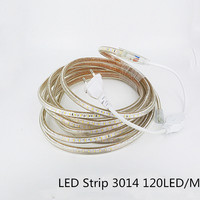 Super Bright 220V AC LED Strips Waterproof SMD 3014 5M 600 LEDs Flexible Light Power Plug