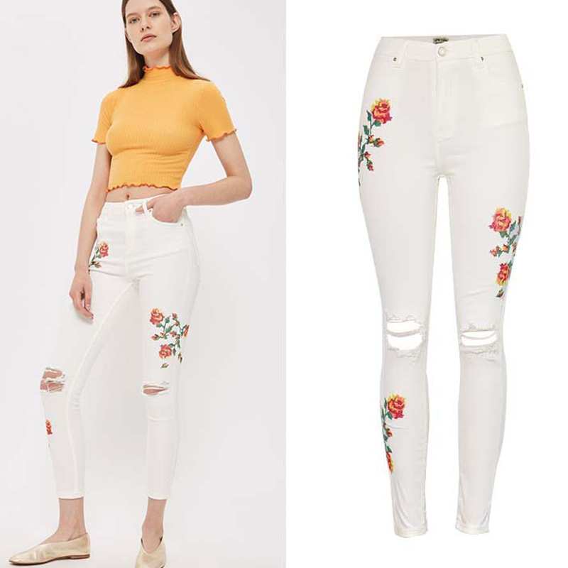 Olrain Spring and Autumn New Fashion Casual Women Skinny Pencil Pants High Waist Rose Embroidered Knee Hole Beige Denim Jeans 2017 new jeans women spring pants high waist thin slim elastic waist pencil pants fashion denim trousers 3 color plus size