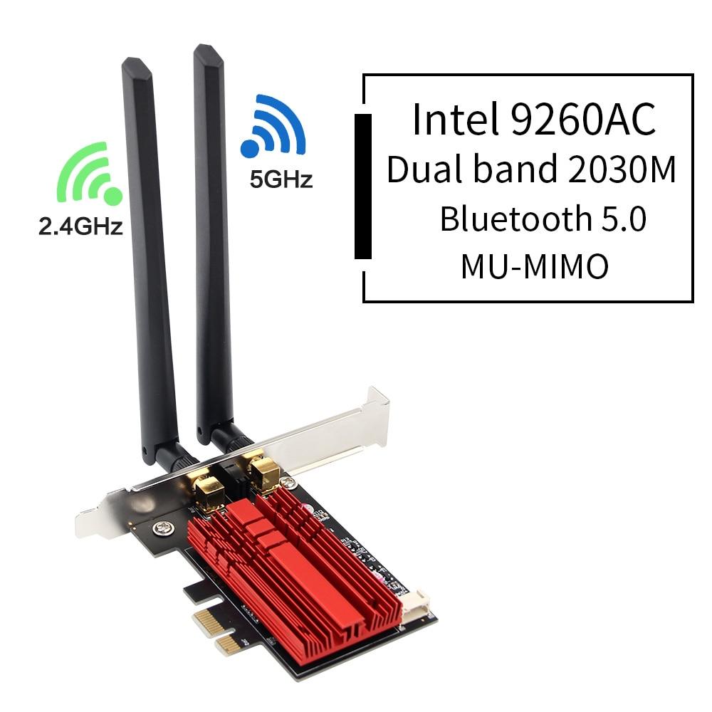 Dual Band Wireless-AC Desktop PCI-E Intel 9260 8265AC 7265AC 802.11ac 2.4G/5Ghz WiFi Bluetooth PCI Express Wireless WiFi AdapterDual Band Wireless-AC Desktop PCI-E Intel 9260 8265AC 7265AC 802.11ac 2.4G/5Ghz WiFi Bluetooth PCI Express Wireless WiFi Adapter