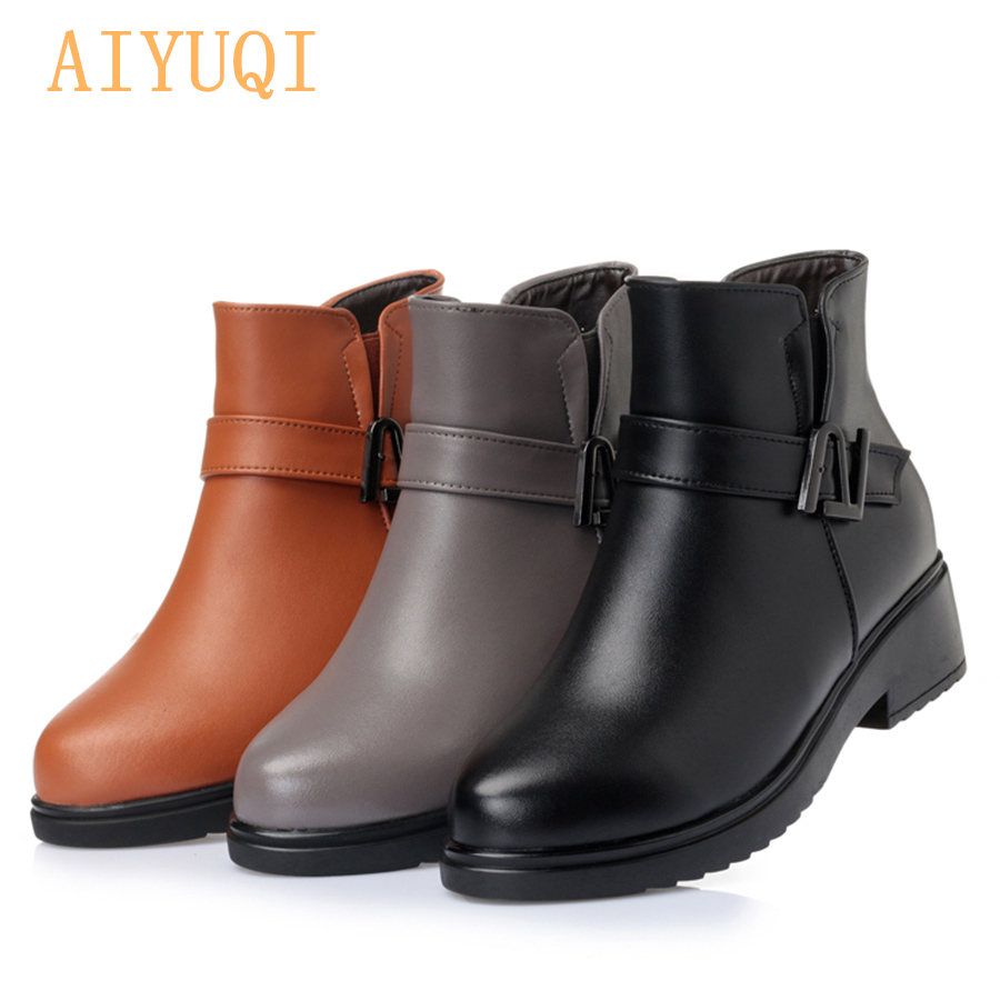 Genuine leather snow boots mother middle aged winter slope with thick wool warm ankle boots Women