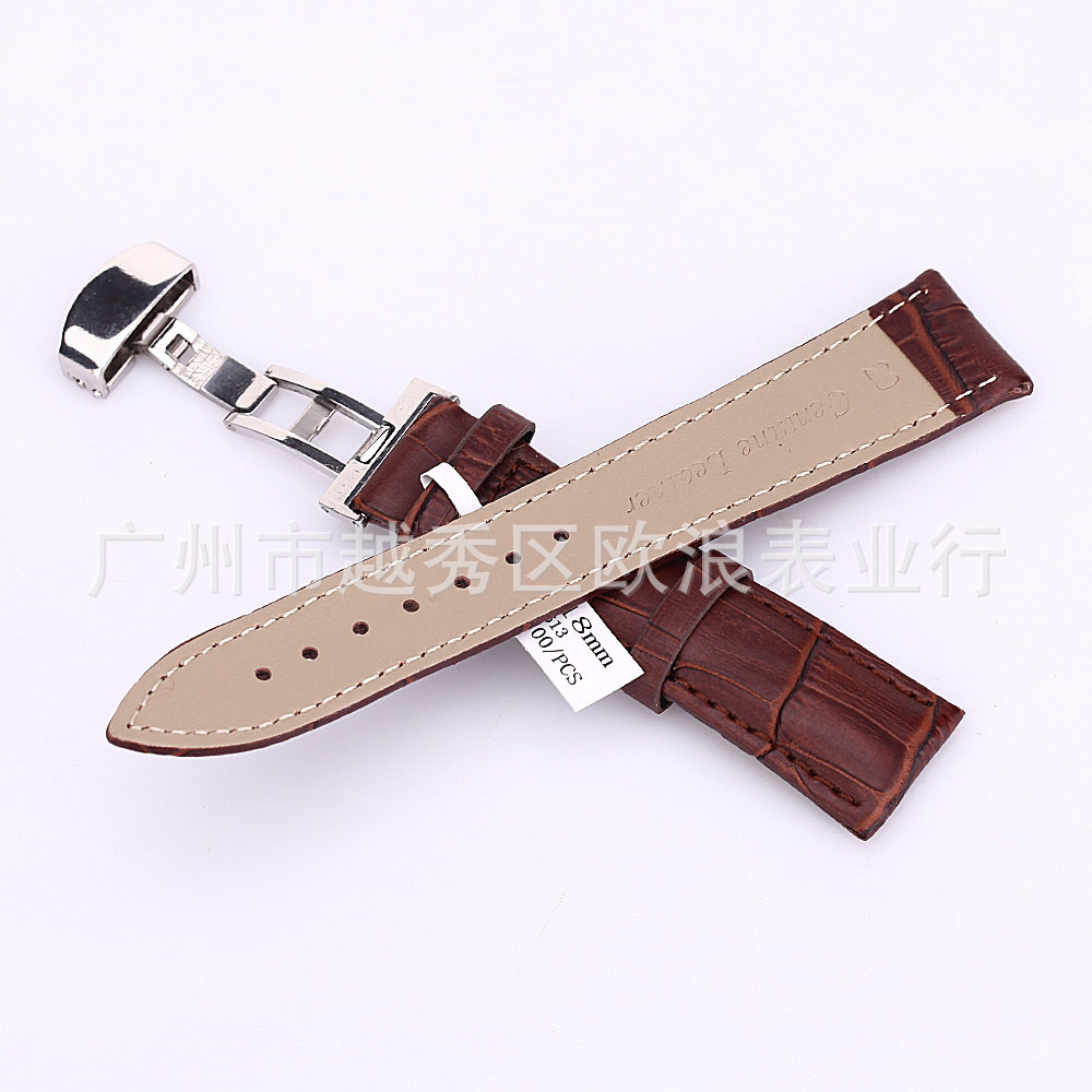 18-24mm Watch Band Strap Butterfly Pattern Deployant Clasp Buckle+ Leather watch band strap butterfly pattern genuine leather deployant buckle bracelet brown black watchbands 18 24mm