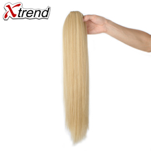 Xtrend 20inch Long Straight Hair Ponytails Claw Clip In Plastic Comb Synthetic Fake Hairpieces Extensions High Temperature Fiber(China)