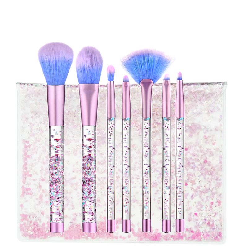 7 Pcs Professional Liquid Crystal Handle Makeup Brush Mermaid Crystal Flow Sand Makeup Brushes Set With Bag