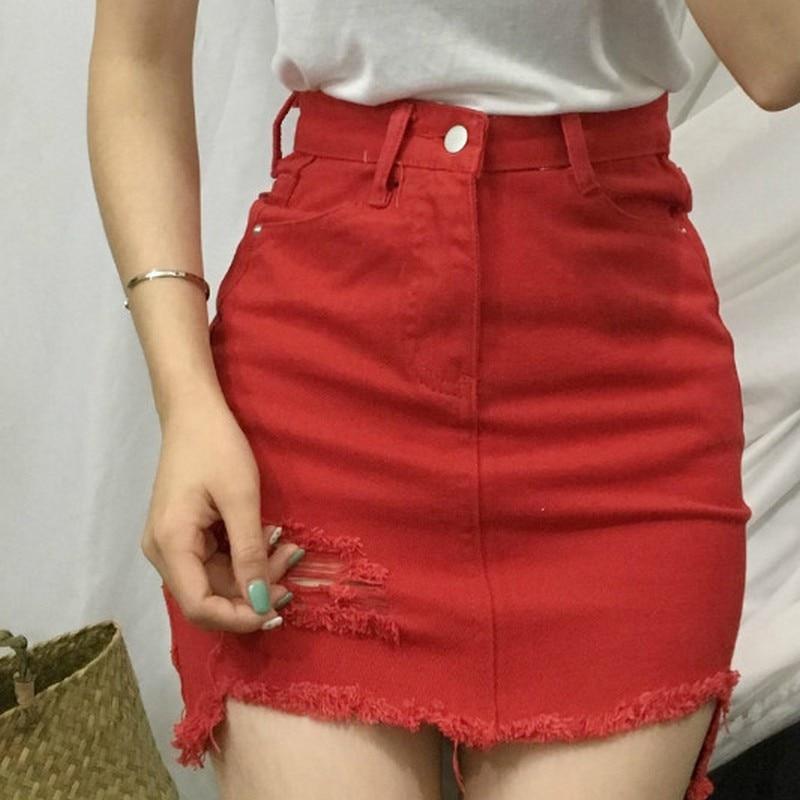 Kobeinc Irregular Hole Female Denim Skirts Summer Slim Faldas Mujer Solid High Waist Saia Jeans Casual A-line S-L