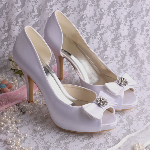 ФОТО Wedopus White Open Toe Wedding Heels White Satin Platform Shoes with Bowknot