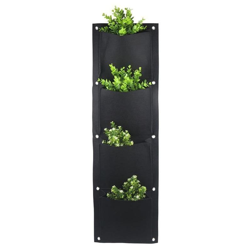 4 And 7-Pocket Felt Vertical Gardening Flower Pots Planter Hanging Pots Planter On Wall Garden Green Field Garden Decora