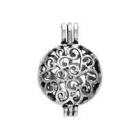 DoreenBeads Copper Pearl Locket Pendants Hollow Filigree Carved 3D Antique Silver Can Open 2.5x1.7cm(Fit Bead Size: 6mm), 5 PCs