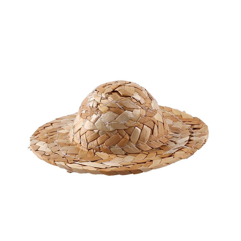 DIY соломенная шляпа Плетение ручной работы фигурка украшение игрушки Детские Картины Сделай Сам трава шляпа украшение креативное искусство для куклы аксессуары - Цвет: 100MM