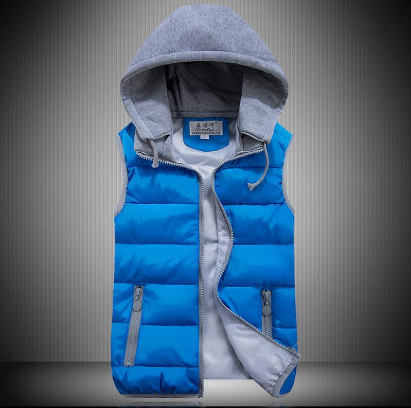 zima Dívka jarní barevná vesta gilet dámská zima Peří bavlněná bunda Kabáty Přední kapsa Pletená čepice gilet dělená kloubová vesta