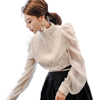 New Spring Korean Collar Chiffon Women Shirt Female Fashion Coat All Match Wind Palace Blouse Lanterns