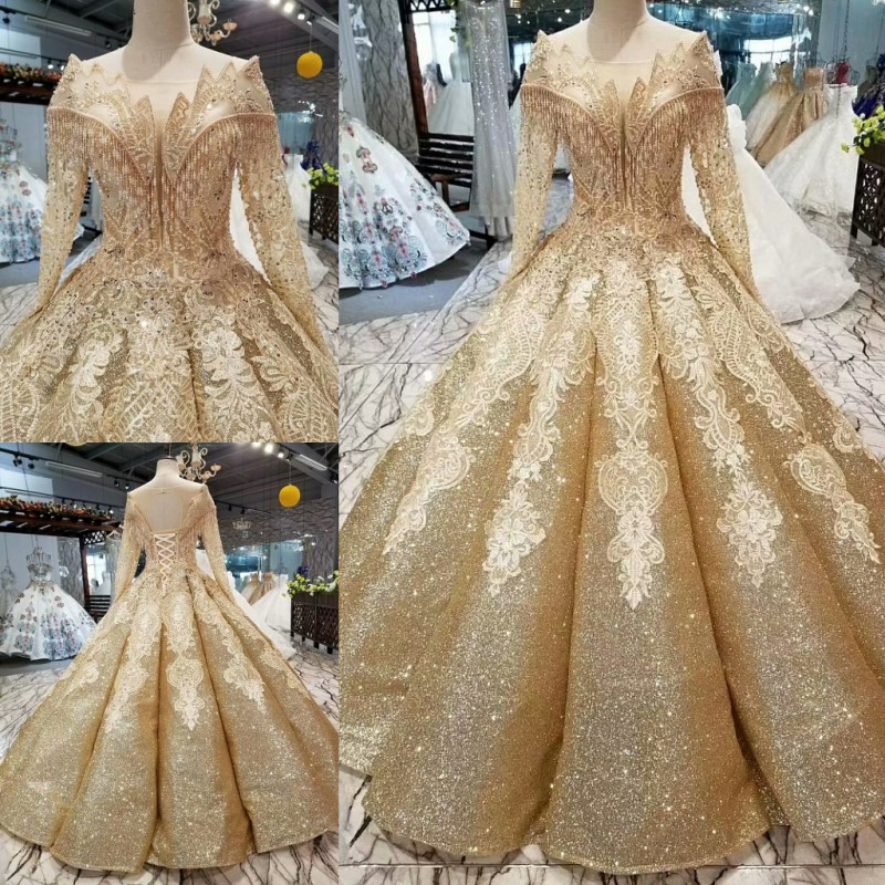 High Quality Champange Gold Ball Gowns Wedding Dresses 2019 Saudi Arabian Dubai Lace Up Vintage Long Sleeves Muslim Bridal Gowns