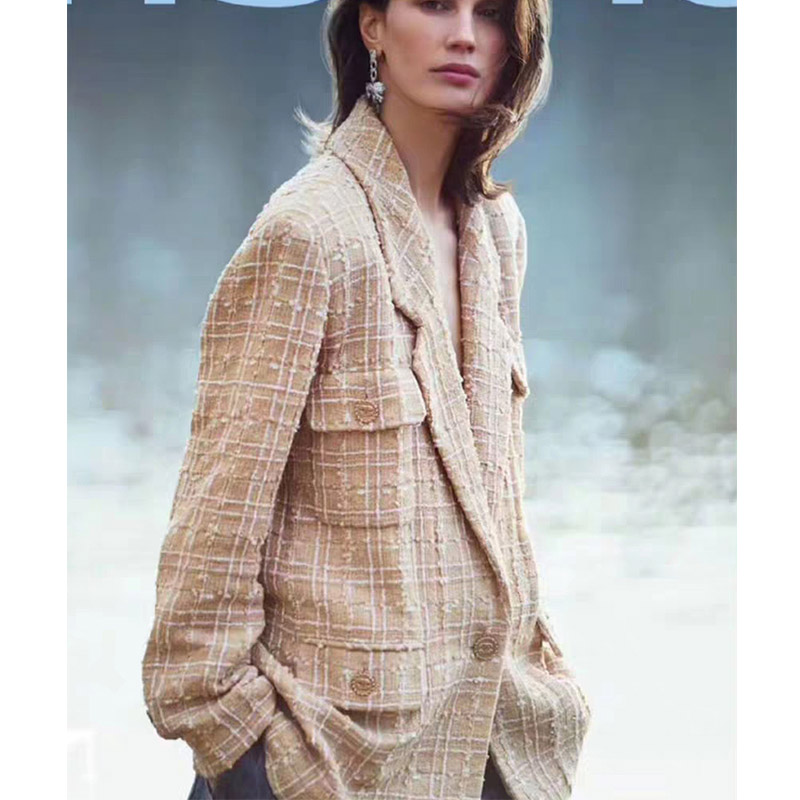 2019 Runway Designer Women Blazer Gold Tweed Long Sleeve Luxury Jacket With Pocket Silk Lining