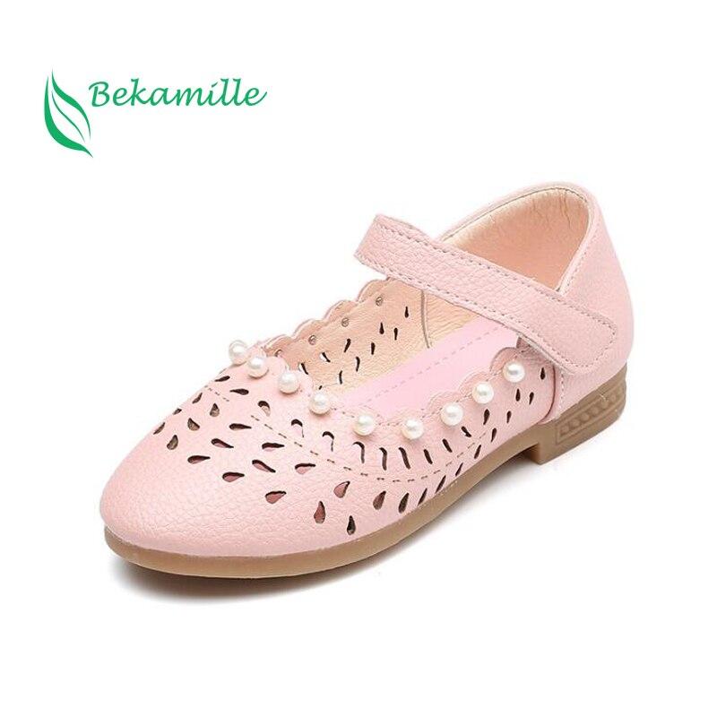 2017 Neue Mädchen Schuhe Leder Schuhe Ausschnitte Perle Für Kinder Herbst Schuhe Süße Mädchen Prinzessin Tanzschuhe Sandalen Elegant Und Anmutig
