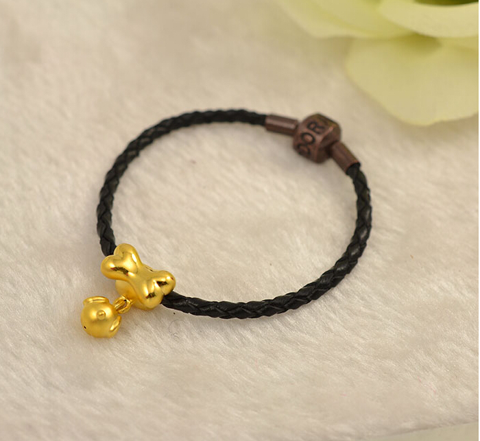 Solid 24K Yellow Gold Bracelet Lucky Bone Knitted Beads Bracelet 1.38g