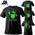 2016 homens camisa do logotipo do Android promoção de vendas T-shirt luminosa marca curto t da forma tshirt projeta engraçado t camisa casal colthes