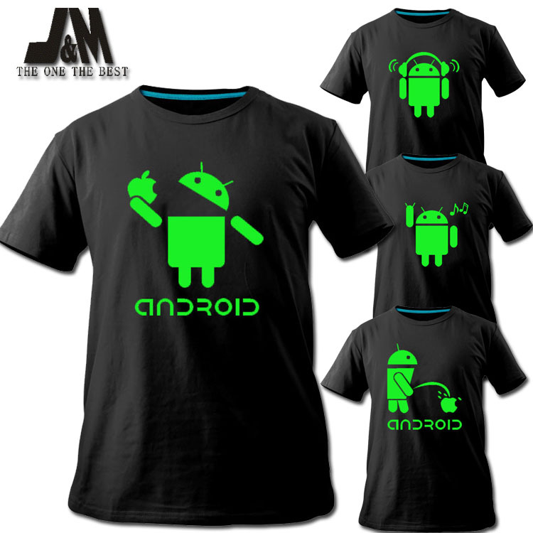 2016 men shirt android logo sales promotion luminous t for Make photo t shirt online