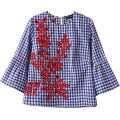 Korean Style Blue Women Plaid  Blouse Shirts Back Button Floral Embroidery  O-Neck Butterfly Sleeve Casual Brand  Tops Q-NRB8386