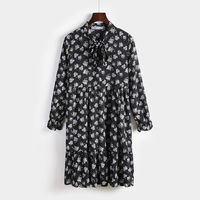 Autumn Cute Women Dress Bow Loose Print Full Sleeve Fat Mm Collar Render Dresses White Wine