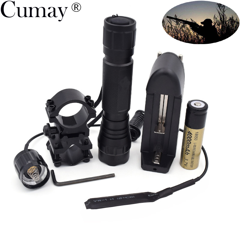 1 Mode Tactical Flashlight 1000 lumens XM-L T6 LED 501B Hunting linterna Led Lampe Torche +mount +Remote switch+Battery +Charger Люмен