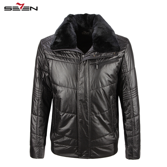 Seven7 Brand Men Jackets Casual Trendy Down Parkas Jackets Turn Down Collar with Fur Winter Warm Men Jackets Coats 703K2509
