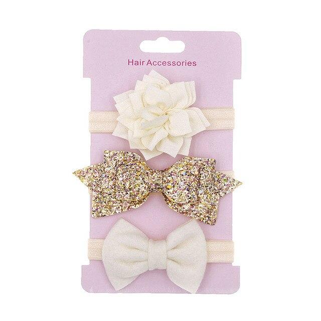 3 Pcs/Lot  Baby Headband Crown Flower Bows Girl Newborn Hair Accessories Elastic Band Turban 4