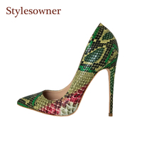 Stylesowner 33 44 Size Sexy Women Pumps Green Snake Pattern Extreme High Heels Shoes Pointy Toe