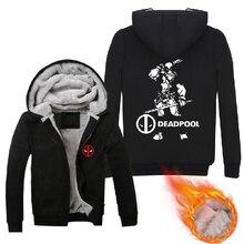 Mens 2016 Movie Deadpool Hoodies Zip Up Winter Fleece Super Warm Cotton Printing Pattern Sweatshirts Coats