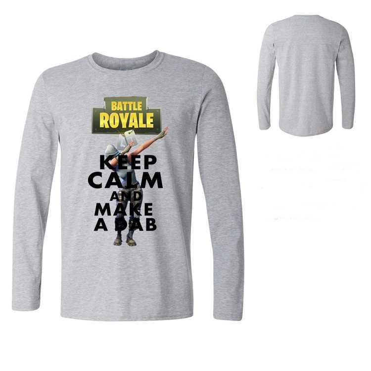 Camiseta de diseño A la moda para hombre ROYALE BATTLE Tees top camisa mantener la calma hacer un hombre suave manga larga camiseta