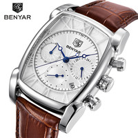BENYAR Classic Rectangle Case Sport Chronograph Men S Watches Genuine Leather Band Quartz Watch Waterproof Quartz