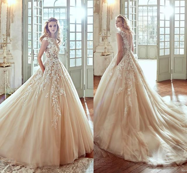 ffd8668b5af 2017 Blush Vestios De Novia 3D-Floral Ball Gown Wedding Dresses Lace Button  Back Luxury Arabic Bridal Gowns with Pockets WB49
