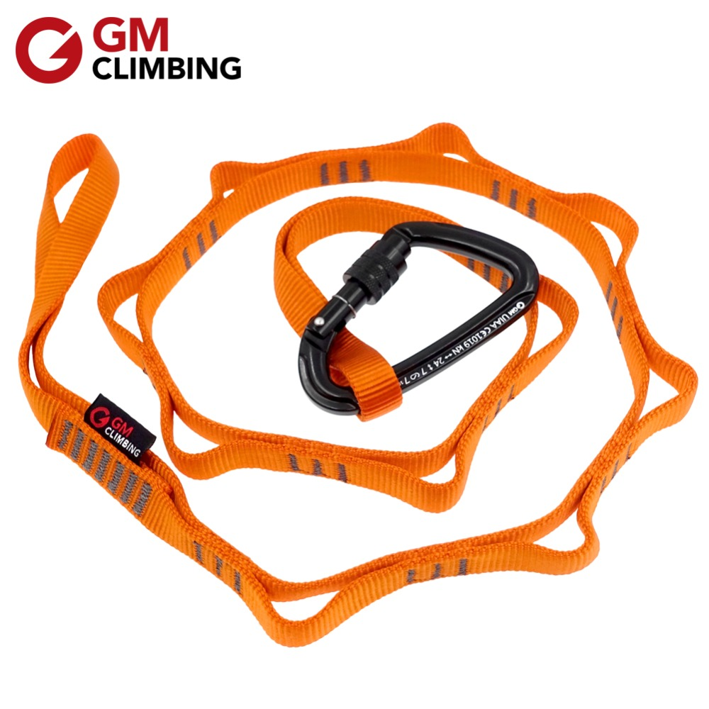 22kN 120cm Climbing Sling Nylon Daisy Chain Rope With Loops And 24kN Carabiner CE / UIAA Hanging Strap Mountaineering Equipment