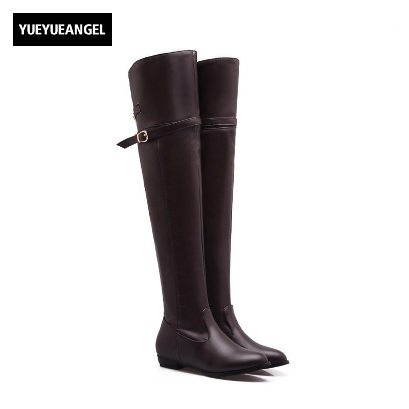 Big Size 34-45 Women Over Knee High Shoes Low Heel Comfort PU Leather Knight Boots Personality Buckle Motorcycle Riding Botas парта rifforma comfort 34